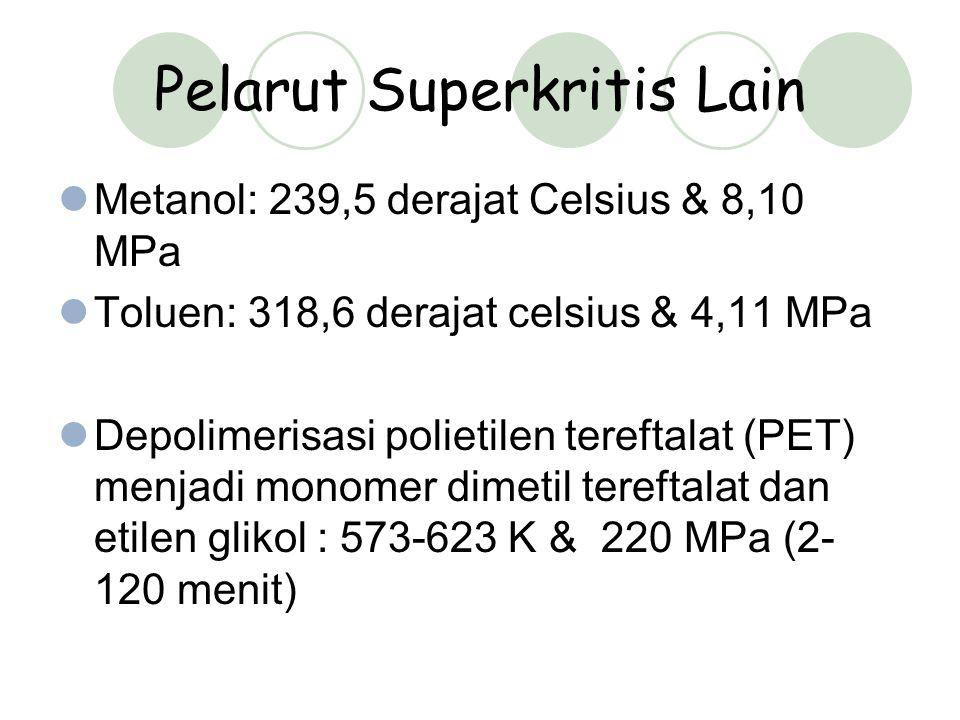Pelarut Superkritis Lain Metanol: 239,5 derajat Celsius & 8,10 MPa Toluen: 318,6 derajat celsius & 4,11 MPa Depolimerisasi polietilen tereftalat (PET) menjadi monomer dimetil tereftalat dan etilen glikol : 573-623 K & 220 MPa (2- 120 menit)