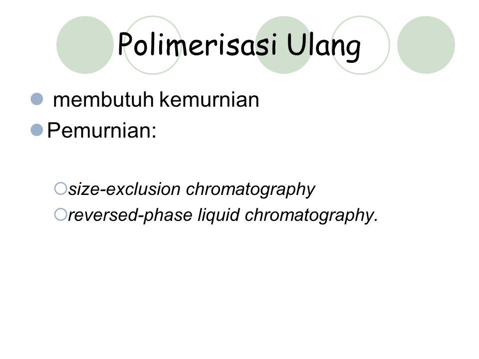Polimerisasi Ulang membutuh kemurnian Pemurnian:  size-exclusion chromatography  reversed-phase liquid chromatography.