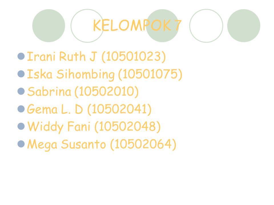 KELOMPOK 7 Irani Ruth J (10501023) Iska Sihombing (10501075) Sabrina (10502010) Gema L. D (10502041) Widdy Fani (10502048) Mega Susanto (10502064)
