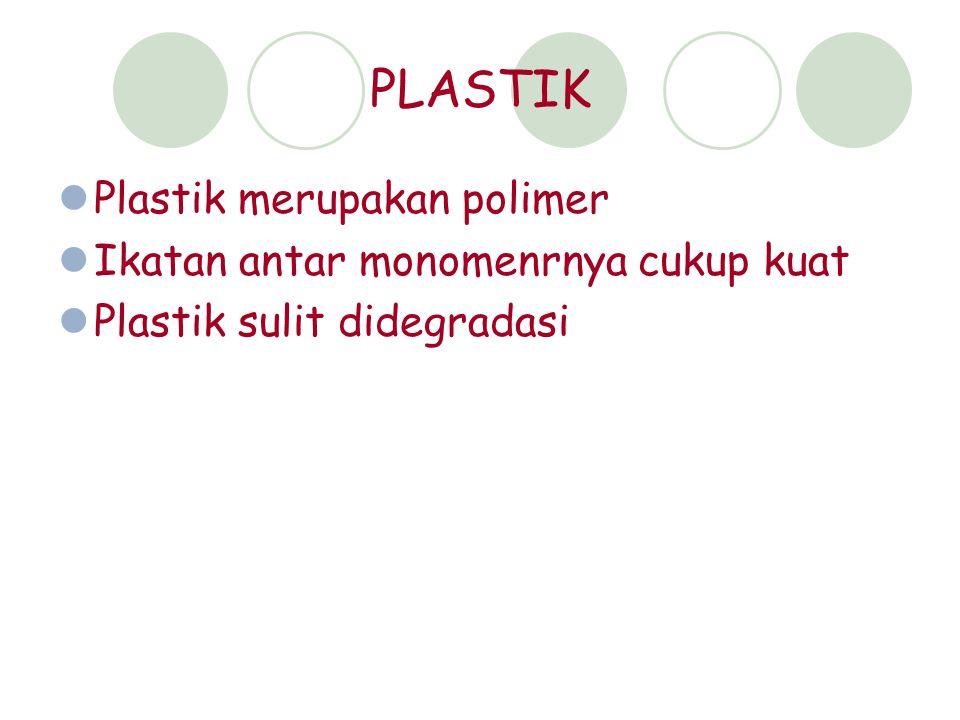 PLASTIK Plastik merupakan polimer Ikatan antar monomenrnya cukup kuat Plastik sulit didegradasi