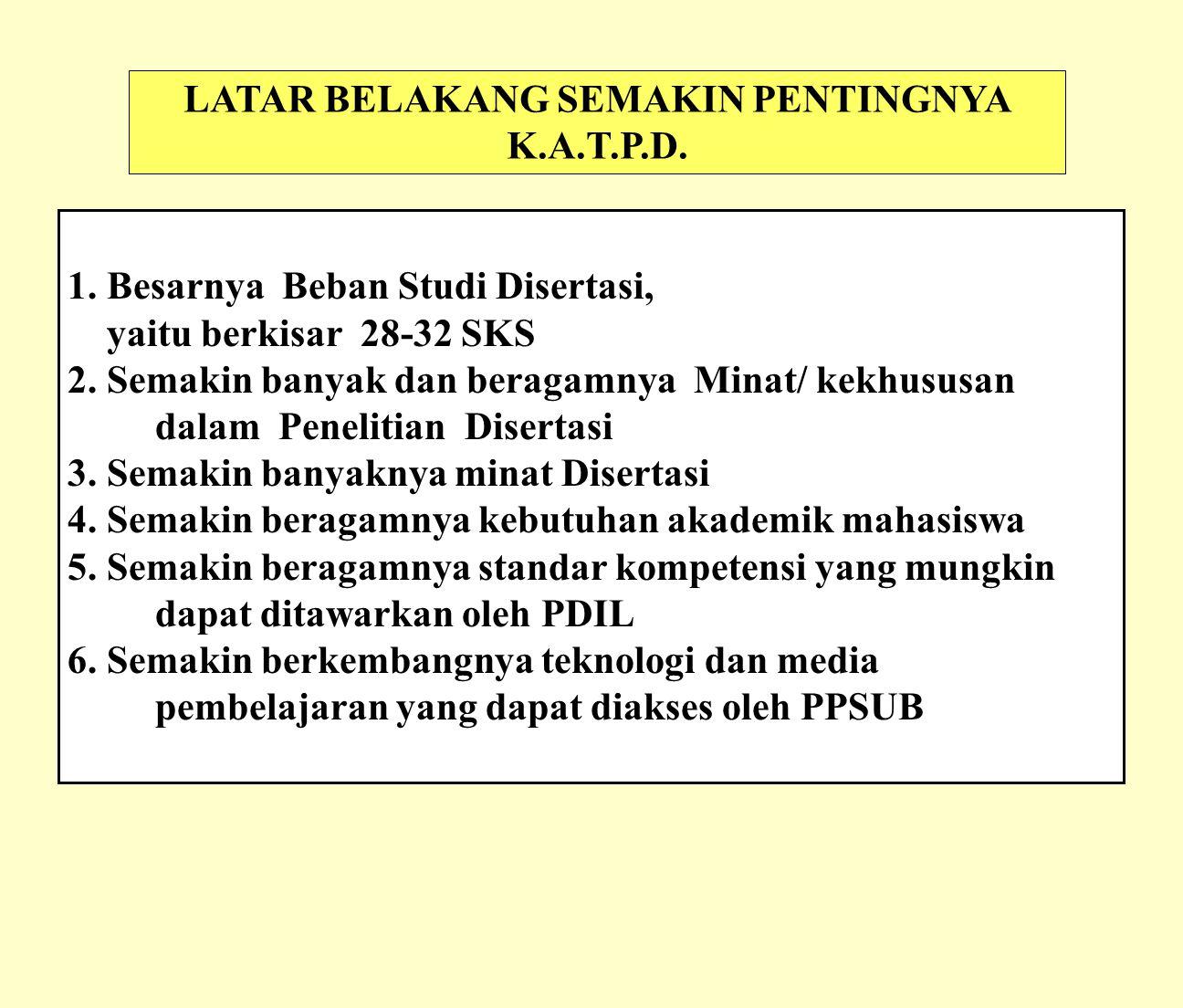 LATAR BELAKANG SEMAKIN PENTINGNYA K.A.T.P.D.1.