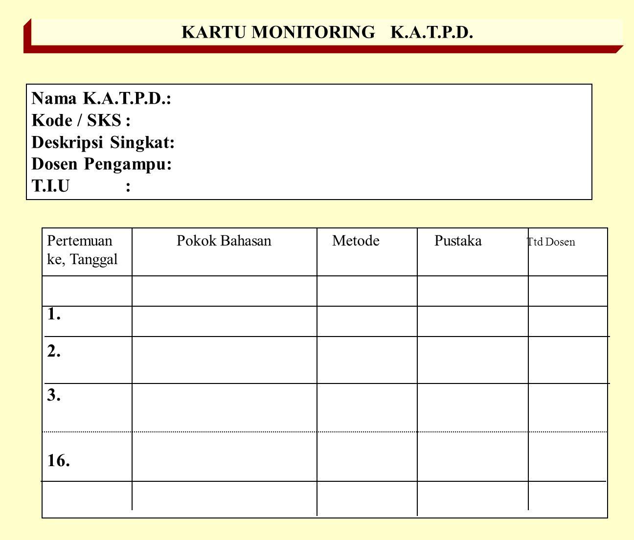 GBPP : GARIS-GARIS BESAR PROGRAM PENGAJARAN Nama K.A.T.P.D.: Kode / SKS: Deskripsi Singkat: Dosen Pengampu: T.I.U: No. T.I.K.Pokok Bahasan Metode/ Wak