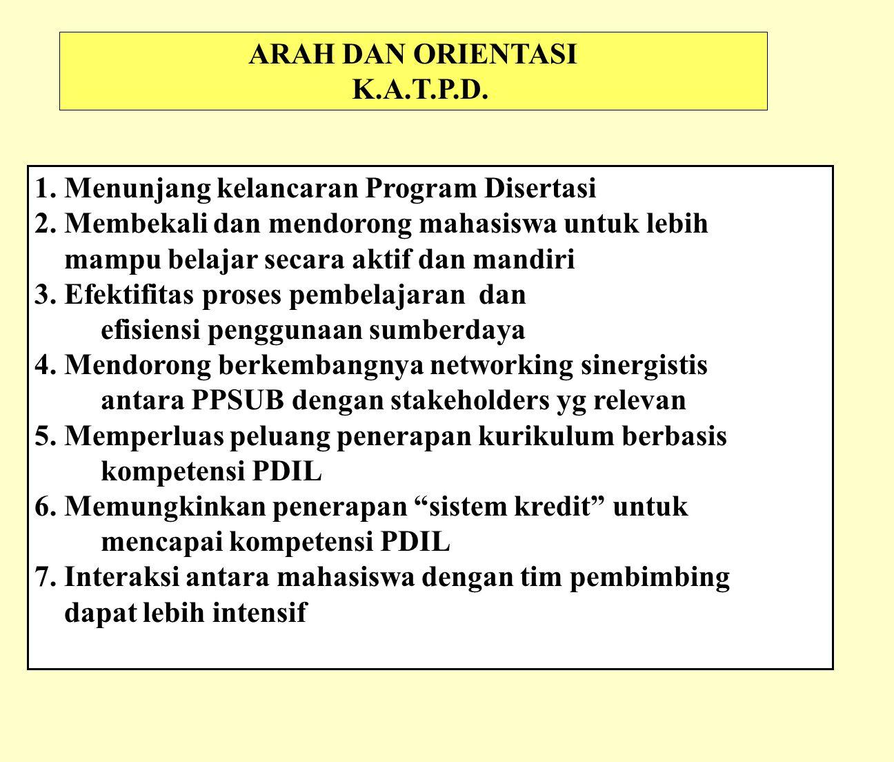 ARAH DAN ORIENTASI K.A.T.P.D.1. Menunjang kelancaran Program Disertasi 2.