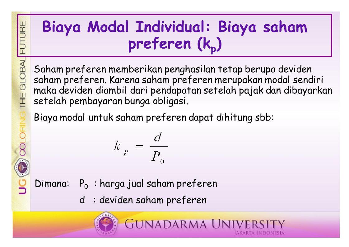 Biaya Modal Individual: Biaya saham preferen (k p ) Saham preferen memberikan penghasilan tetap berupa deviden saham preferen.