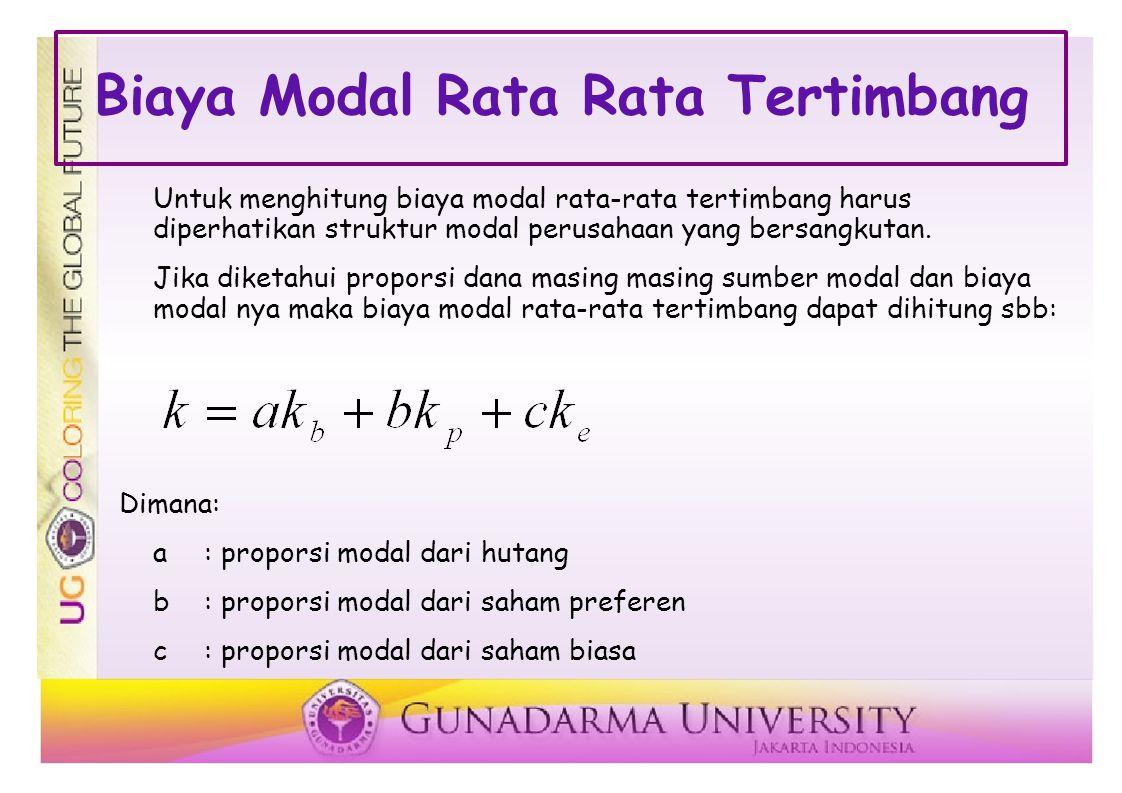 Biaya Modal Rata Rata Tertimbang Untuk menghitung biaya modal rata-rata tertimbang harus diperhatikan struktur modal perusahaan yang bersangkutan.