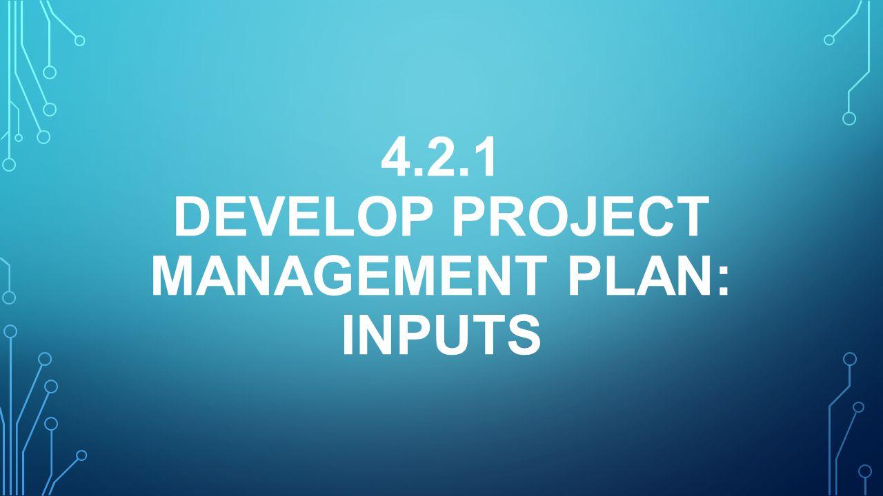 4.2.1 DEVELOP PROJECT MANAGEMENT PLAN: INPUTS