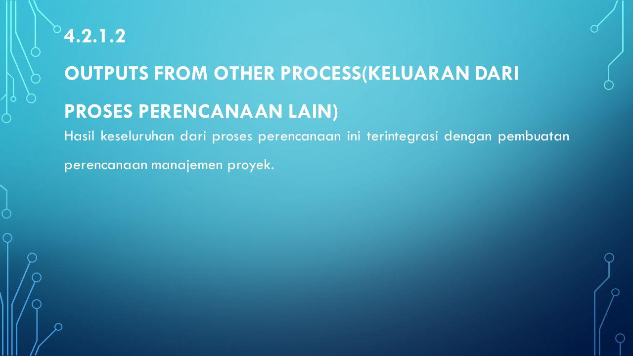 4.2.1.2 OUTPUTS FROM OTHER PROCESS(KELUARAN DARI PROSES PERENCANAAN LAIN) Hasil keseluruhan dari proses perencanaan ini terintegrasi dengan pembuatan