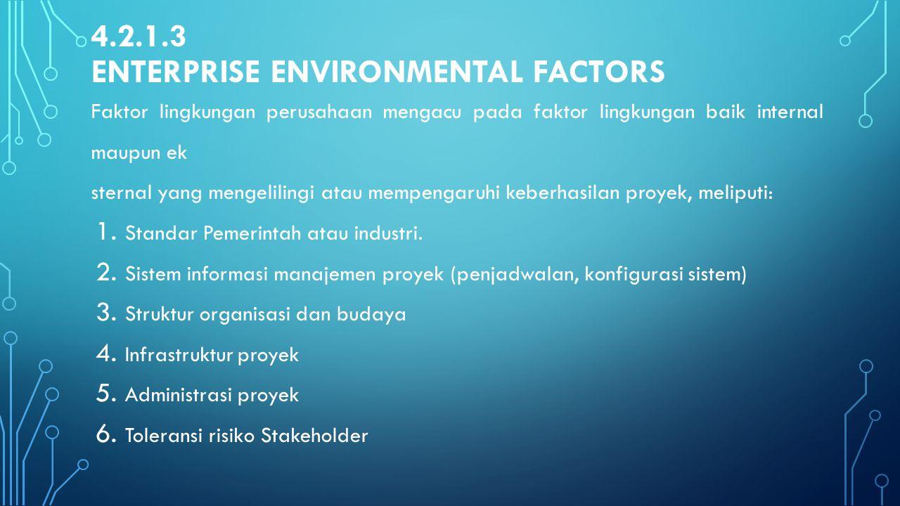 4.2.1.3 ENTERPRISE ENVIRONMENTAL FACTORS Faktor lingkungan perusahaan mengacu pada faktor lingkungan baik internal maupun ek sternal yang mengelilingi
