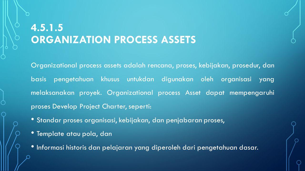 4.5.1.5 ORGANIZATION PROCESS ASSETS Organizational process assets adalah rencana, proses, kebijakan, prosedur, dan basis pengetahuan khusus untukdan d