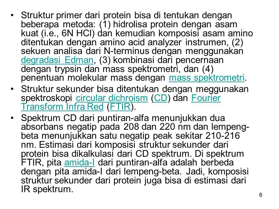 6 Struktur primer dari protein bisa di tentukan dengan beberapa metoda: (1) hidrolisa protein dengan asam kuat (i.e., 6N HCl) dan kemudian komposisi a