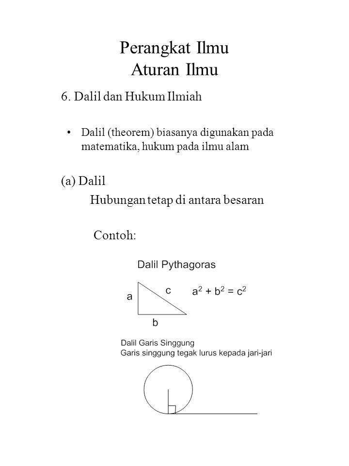 Perangkat Ilmu Aturan Ilmu 6. Dalil dan Hukum Ilmiah Dalil (theorem) biasanya digunakan pada matematika, hukum pada ilmu alam (a) Dalil Hubungan tetap