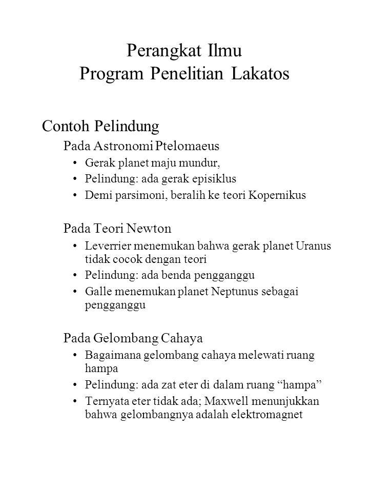 Perangkat Ilmu Program Penelitian Lakatos Contoh Pelindung Pada Astronomi Ptelomaeus Gerak planet maju mundur, Pelindung: ada gerak episiklus Demi par