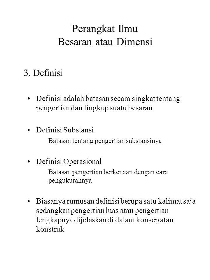 Perangkat Ilmu Besaran atau Dimensi 3. Definisi Definisi adalah batasan secara singkat tentang pengertian dan lingkup suatu besaran Definisi Substansi