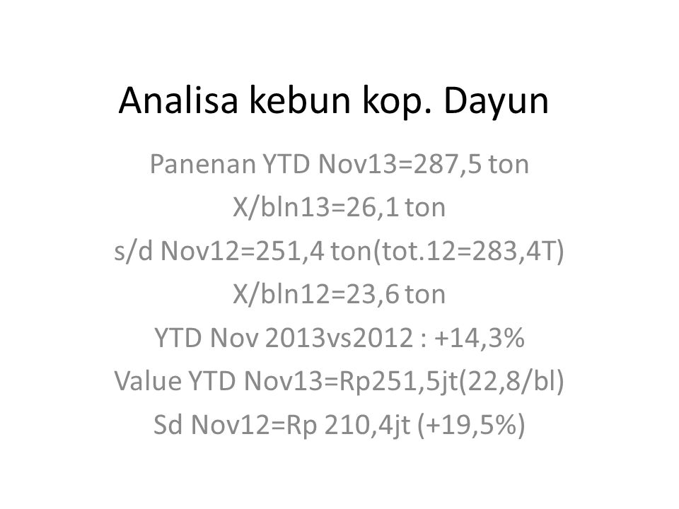 Pemupukan 2013 : Jan,May,Jul,Sept,Sept,Nov(6 kali-tp yg nov blm diaplikasikan).