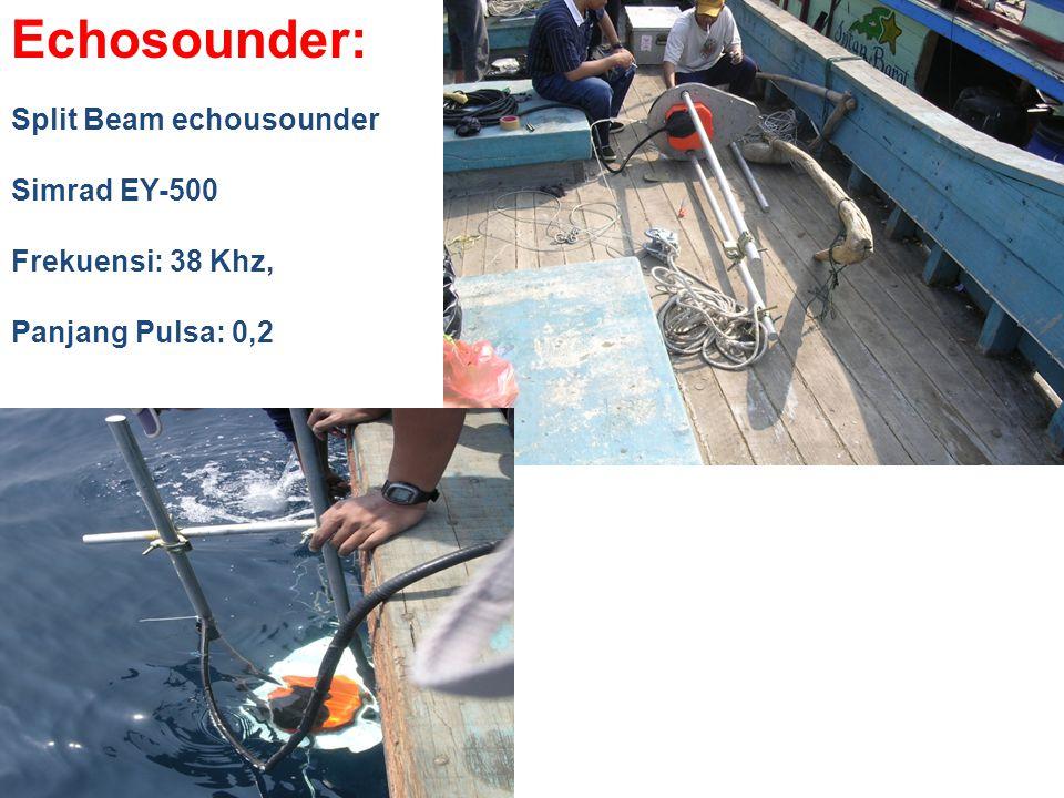 Echosounder: Split Beam echousounder Simrad EY-500 Frekuensi: 38 Khz, Panjang Pulsa: 0,2