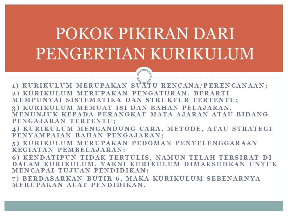 1) KURIKULUM MERUPAKAN SUATU RENCANA/PERENCANAAN; 2) KURIKULUM MERUPAKAN PENGATURAN, BERARTI MEMPUNYAI SISTEMATIKA DAN STRUKTUR TERTENTU; 3) KURIKULUM