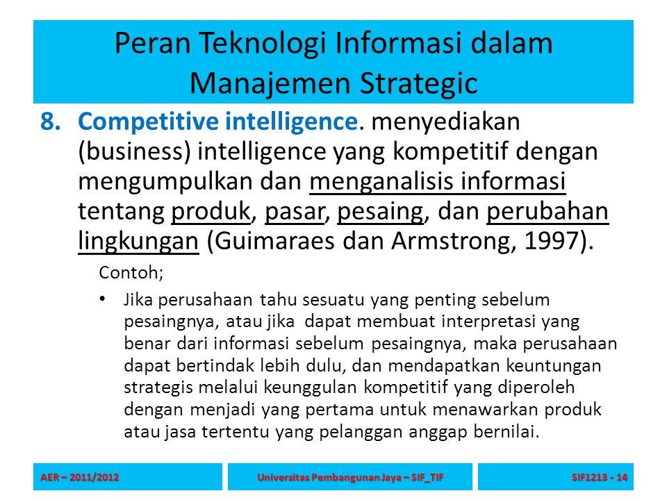 Peran Teknologi Informasi dalam Manajemen Strategic 8.Competitive intelligence. menyediakan (business) intelligence yang kompetitif dengan mengumpulka