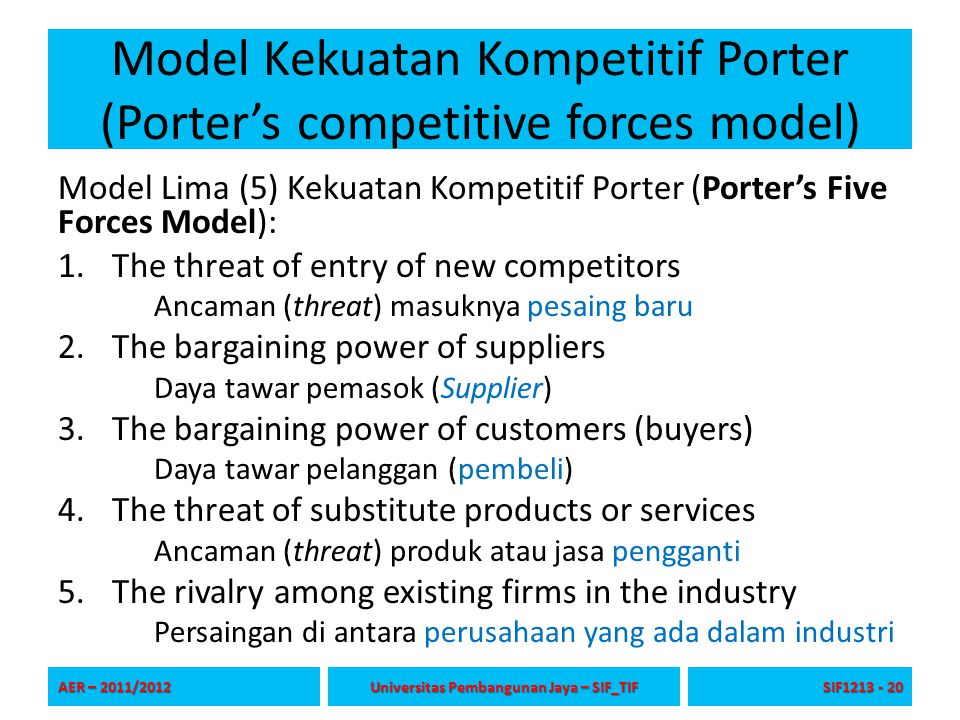 Model Kekuatan Kompetitif Porter (Porter's competitive forces model) Model Lima (5) Kekuatan Kompetitif Porter (Porter's Five Forces Model): 1.The thr