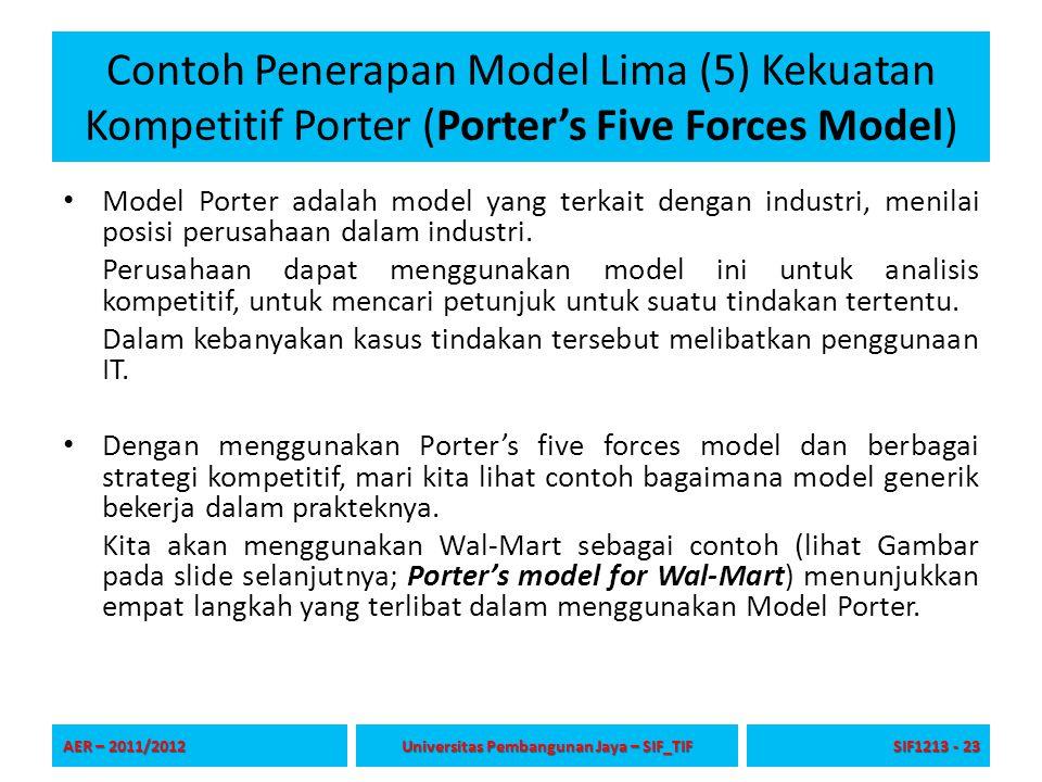 Contoh Penerapan Model Lima (5) Kekuatan Kompetitif Porter (Porter's Five Forces Model) Model Porter adalah model yang terkait dengan industri, menila