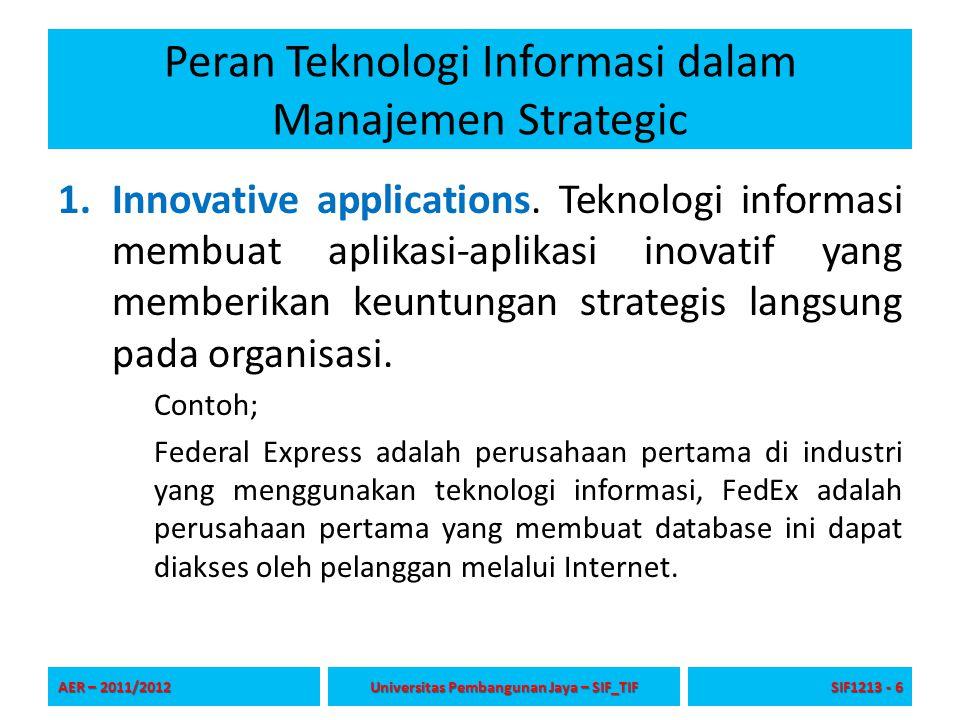 Peran Teknologi Informasi dalam Manajemen Strategic 1.Innovative applications. Teknologi informasi membuat aplikasi-aplikasi inovatif yang memberikan