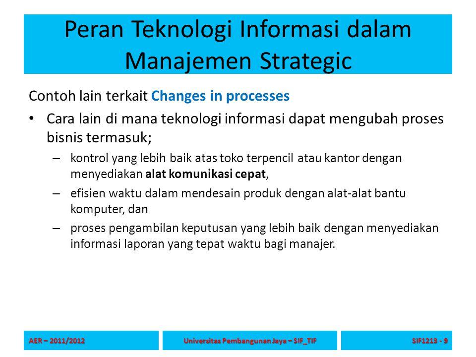 Peran Teknologi Informasi dalam Manajemen Strategic Contoh lain terkait Changes in processes Cara lain di mana teknologi informasi dapat mengubah pros