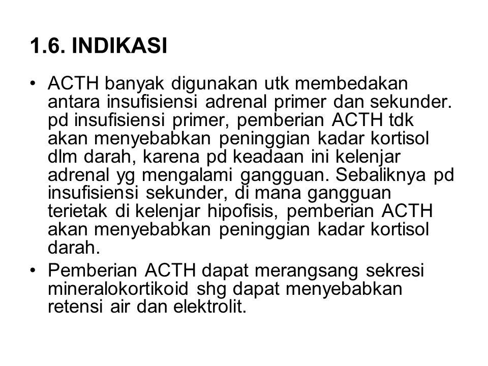 1.6. INDIKASI ACTH banyak digunakan utk membedakan antara insufisiensi adrenal primer dan sekunder. pd insufisiensi primer, pemberian ACTH tdk akan me