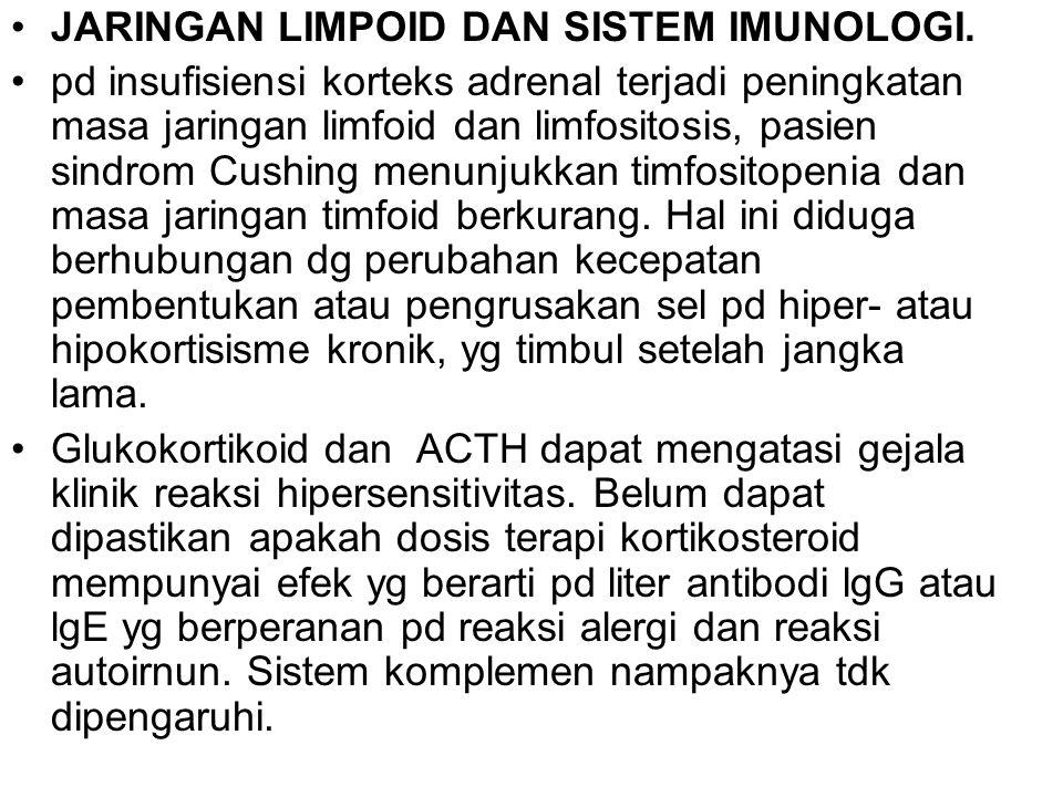 JARINGAN LIMPOID DAN SISTEM IMUNOLOGI. pd insufisiensi korteks adrenal terjadi peningkatan masa jaringan limfoid dan limfositosis, pasien sindrom Cush