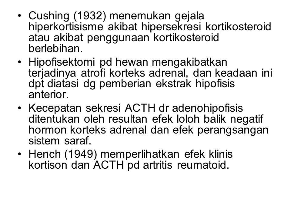 Cushing (1932) menemukan gejala hiperkortisisme akibat hipersekresi kortikosteroid atau akibat penggunaan kortikosteroid berlebihan. Hipofisektomi pd