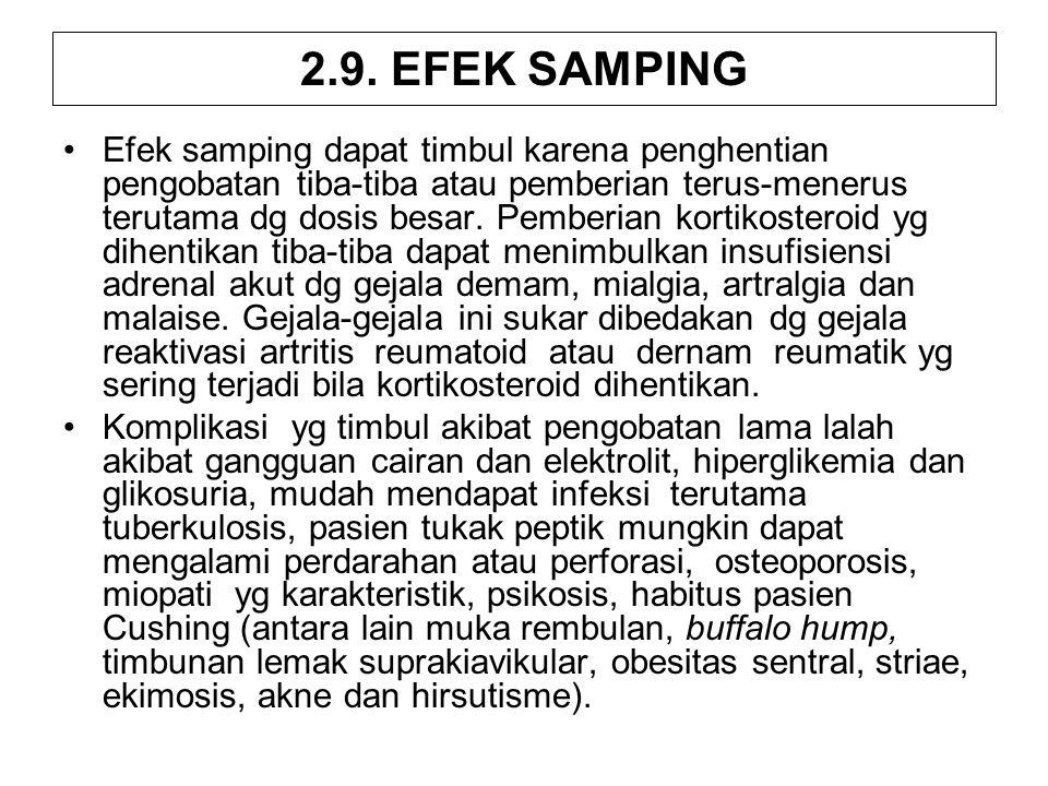 2.9. EFEK SAMPING Efek samping dapat timbul karena penghentian pengobatan tiba-tiba atau pemberian terus-menerus terutama dg dosis besar. Pemberian ko
