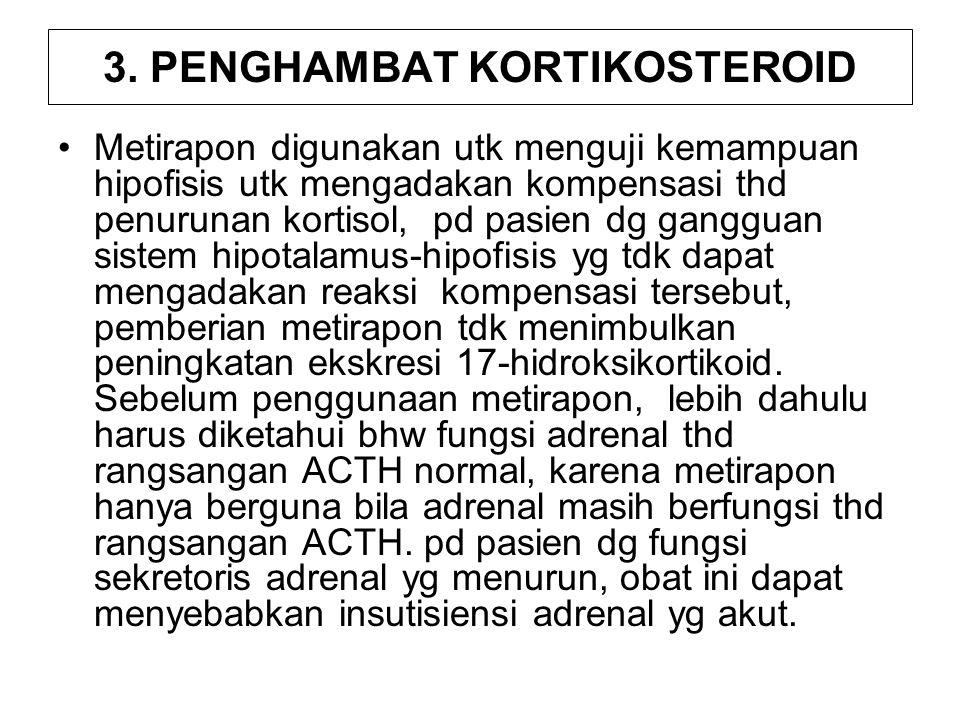 3. PENGHAMBAT KORTIKOSTEROID Metirapon digunakan utk menguji kemampuan hipofisis utk mengadakan kompensasi thd penurunan kortisol, pd pasien dg ganggu