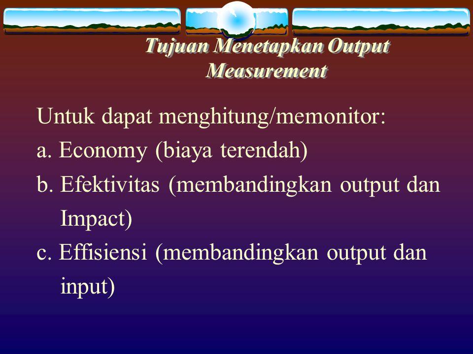  Dengan mengukur input, output dan impact maka pemerintah mengetahui manfaat dana (value for money) yang dikeluarkannya.