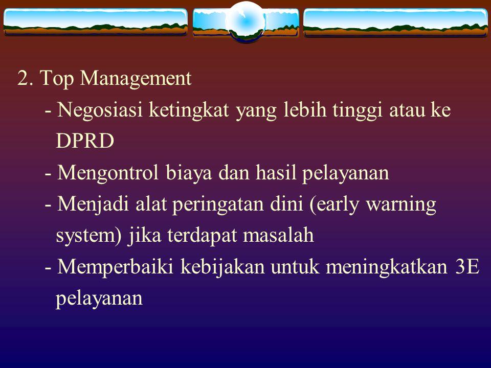 2. Top Management - Negosiasi ketingkat yang lebih tinggi atau ke DPRD - Mengontrol biaya dan hasil pelayanan - Menjadi alat peringatan dini (early wa
