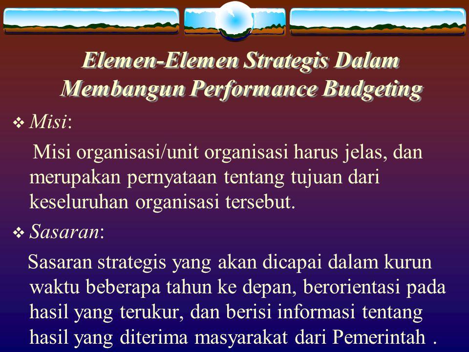 Elemen-Elemen Praktis Dalam Membangun Performance Budgeting  Program  Aktivitas  Target Aktivitas (ukuran kinerja): * tuntutan pekerjaan (permintaan) * output * effisiensi