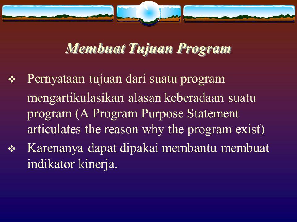 Karateristik Program  Program suatu organisasi harus jelas dan dikaitkan dengan misi organisasi untuk memberikan arah pada pembuatan ukuran kinerja program.