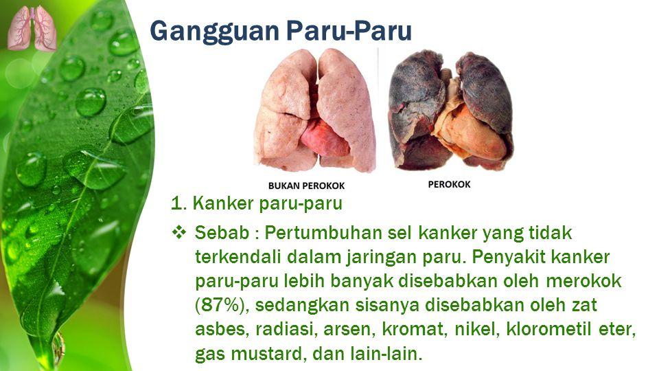 Gangguan Paru-Paru 1. Kanker paru-paru  Sebab : Pertumbuhan sel kanker yang tidak terkendali dalam jaringan paru. Penyakit kanker paru-paru lebih ban