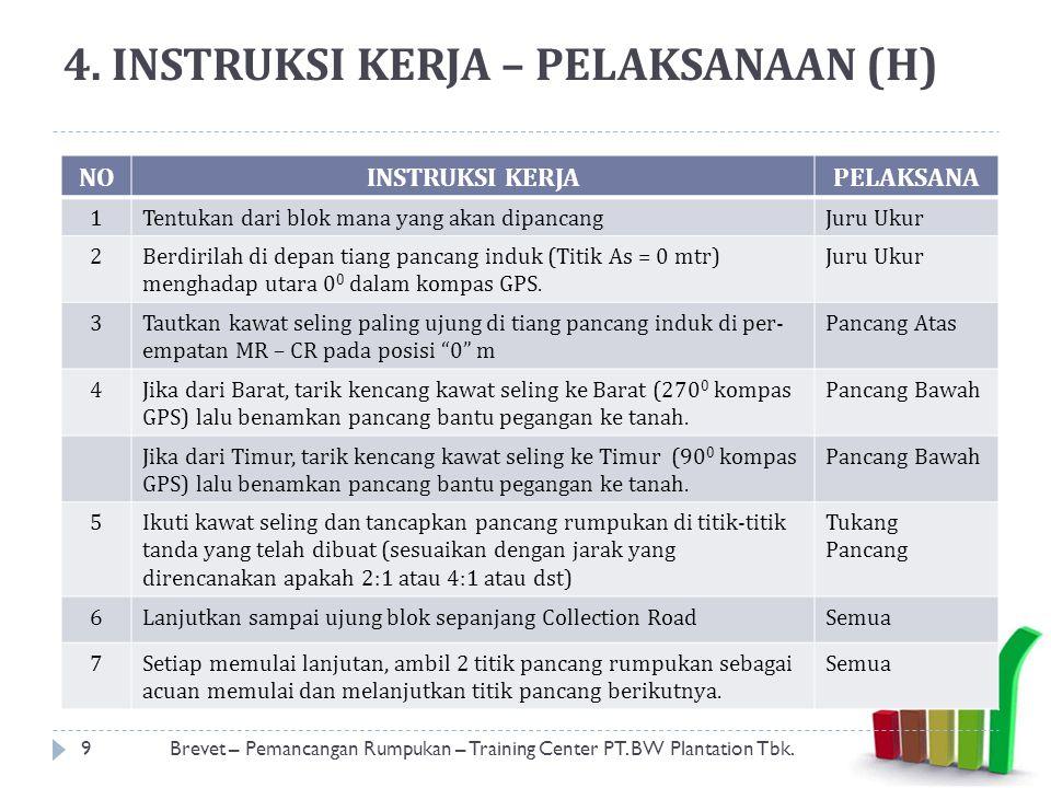 4. INSTRUKSI KERJA – PELAKSANAAN (H) 9Brevet – Pemancangan Rumpukan – Training Center PT. BW Plantation Tbk. NOINSTRUKSI KERJAPELAKSANA 1Tentukan dari