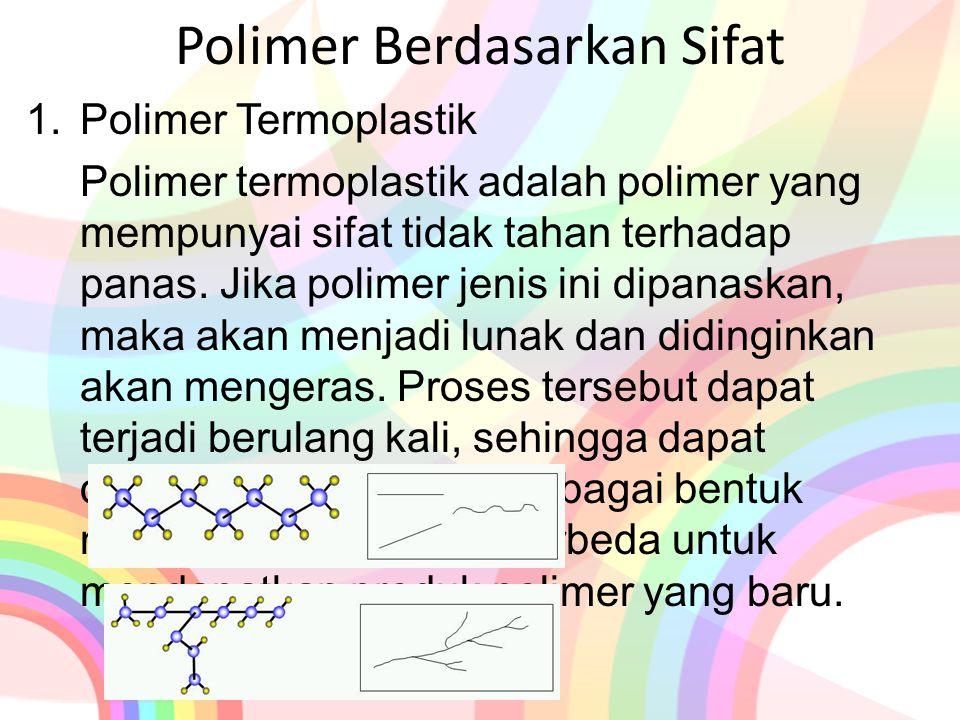 Polimer Berdasarkan Sifat 1.Polimer Termoplastik Polimer termoplastik adalah polimer yang mempunyai sifat tidak tahan terhadap panas. Jika polimer jen