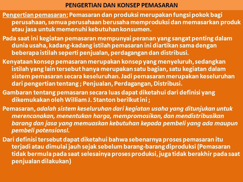 PEMASARAN 1.PENGERTIAN DAN KONSEP PEMASRAN. 2.STRUKTUR ORGANISASI PEMASARAN 3.PASAR 4.MARKETING MIX DAN PRODUK 5.SALURAN PEMASARAN 6.PENETUAN HARGA 7.