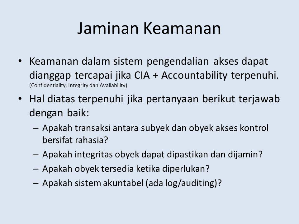 Jaminan Keamanan Keamanan dalam sistem pengendalian akses dapat dianggap tercapai jika CIA + Accountability terpenuhi. (Confidentiality, Integrity dan