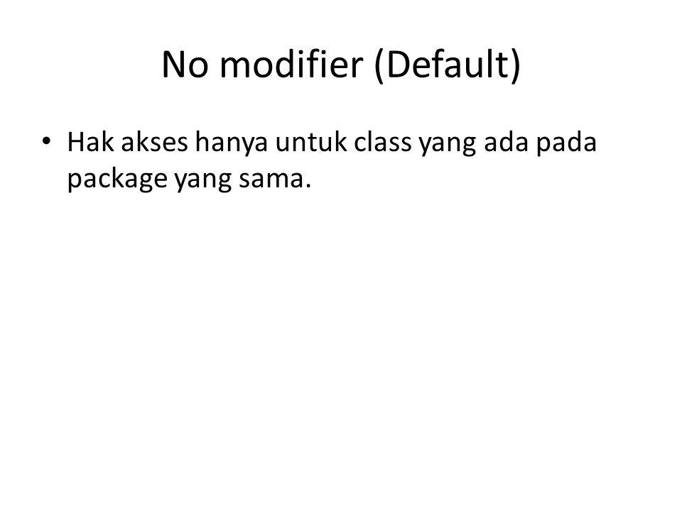 No modifier (Default) Hak akses hanya untuk class yang ada pada package yang sama.