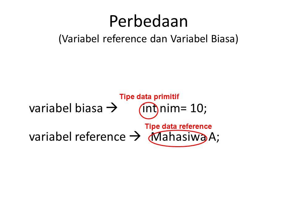Perbedaan (Variabel reference dan Variabel Biasa) variabel biasa  int nim= 10; variabel reference  Mahasiwa A; Tipe data primitif Tipe data reference