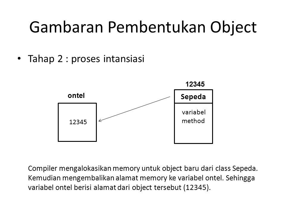 Gambaran Pembentukan Object Tahap 2 : proses intansiasi Compiler mengalokasikan memory untuk object baru dari class Sepeda.