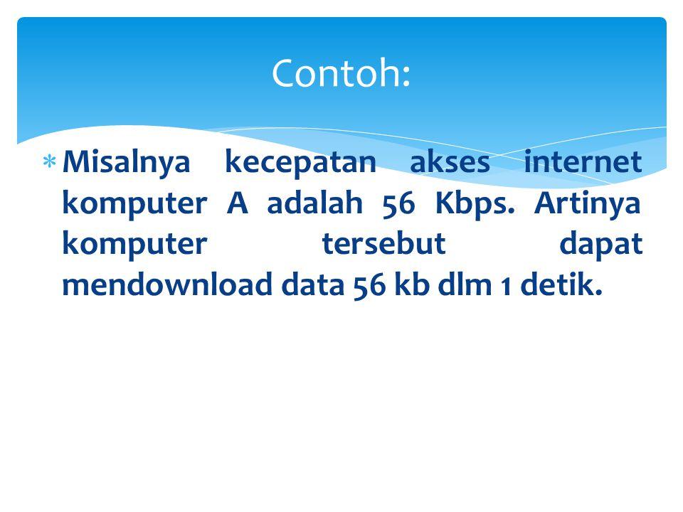  Bobi melakukan akses internet dengan kecepatan akses internet sebesar 250 kbps, jika bobi mendownload file x sebesar 5550 kb, berapakah waktu yang di tempuh bobi dalam mendownload file x tersebut.
