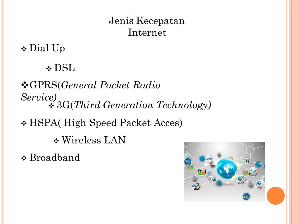 Jenis Kecepatan Internet  GPRS( General Packet Radio Service)  HSPA( High Speed Packet Acces)  Wireless LAN  Broadband  Dial Up  DSL  3G( Third