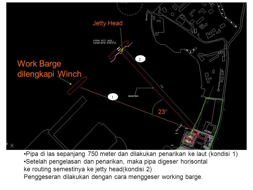 1 2 Work Barge dilengkapi Winch Pipa di las sepanjang 750 meter dan dilakukan penarikan ke laut (kondisi 1) Setelah pengelasan dan penarikan, maka pip