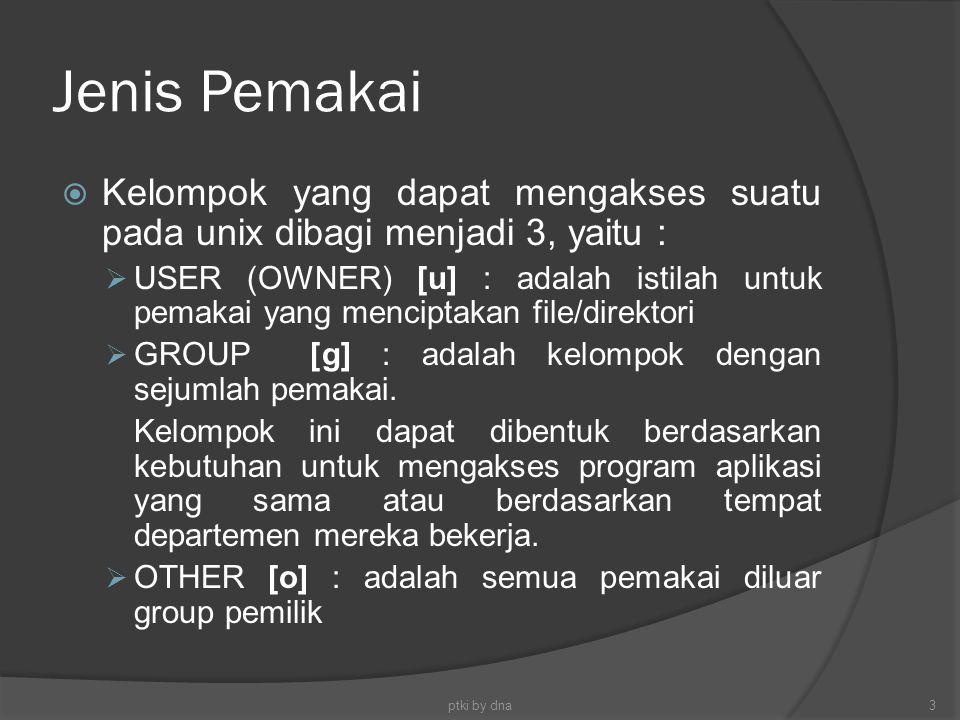 Jenis Pemakai  Kelompok yang dapat mengakses suatu pada unix dibagi menjadi 3, yaitu :  USER (OWNER) [u] : adalah istilah untuk pemakai yang mencipt