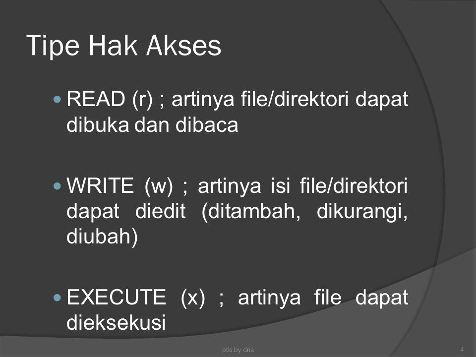 Tipe Hak Akses READ (r) ; artinya file/direktori dapat dibuka dan dibaca WRITE (w) ; artinya isi file/direktori dapat diedit (ditambah, dikurangi, diu