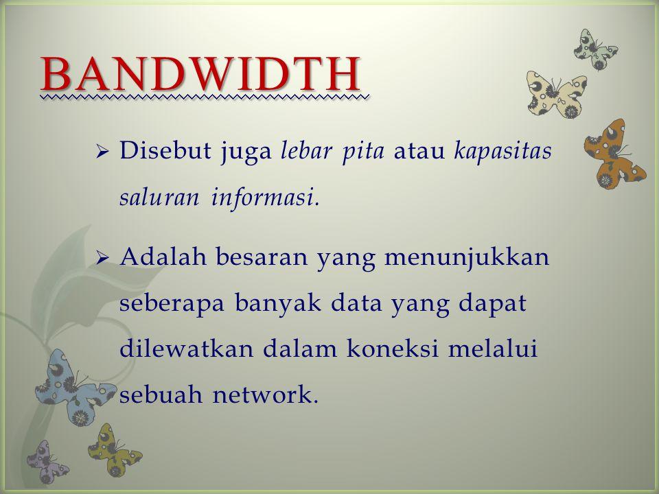 BANDWIDTH  Disebut juga lebar pita atau kapasitas saluran informasi.