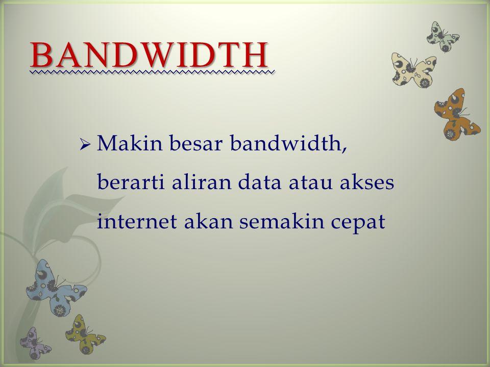  Merupakan ukuran banyaknya informasi yang mengalir tiap satuan waktu atau besarnya kapasitas koneksi internet untuk transfer data.
