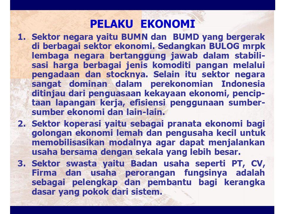 PELAKU EKONOMI 1.Sektor negara yaitu BUMN dan BUMD yang bergerak di berbagai sektor ekonomi. Sedangkan BULOG mrpk lembaga negara bertanggung jawab dal